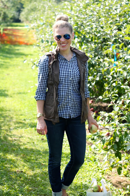 gingham button up, utility vest, jeans, sperrys