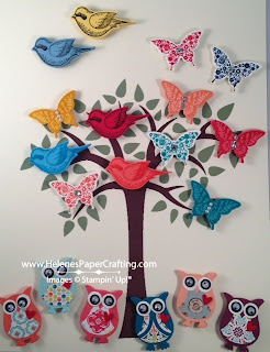 Owl, Bird and Butterfly Magnets on a Tree