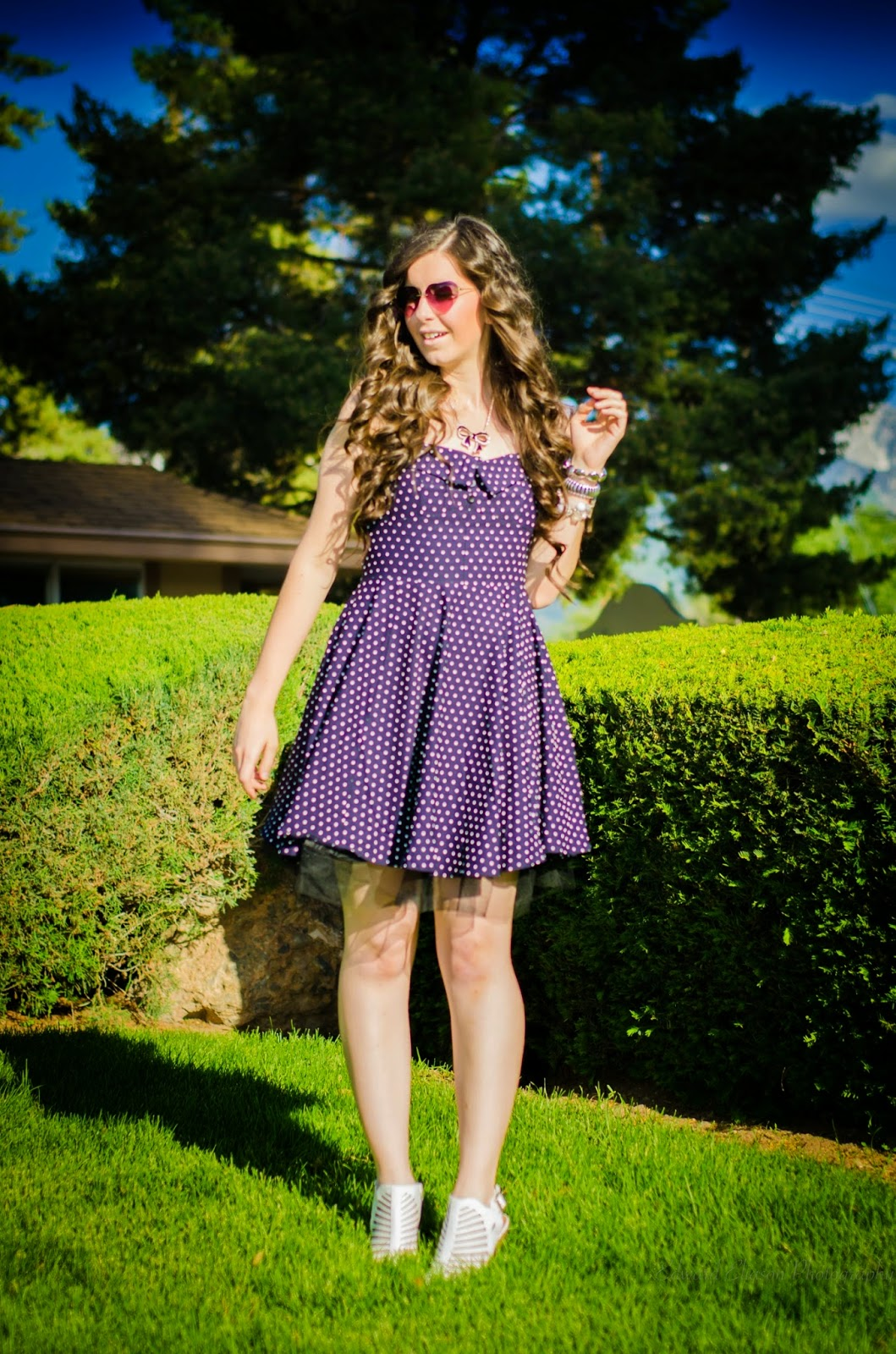 vintage polka dot dress, Edward Eliason Photography, polka dot dress, cut out heels, white heels, polka dot outfit, pretty outfit, vintage inspired, cute, arm candy, heart sunglasses, sunnies,
