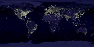 NASA satellite composite image earth at night