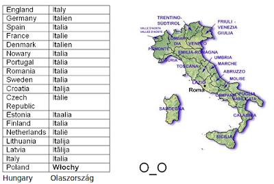 italia em varias linguas