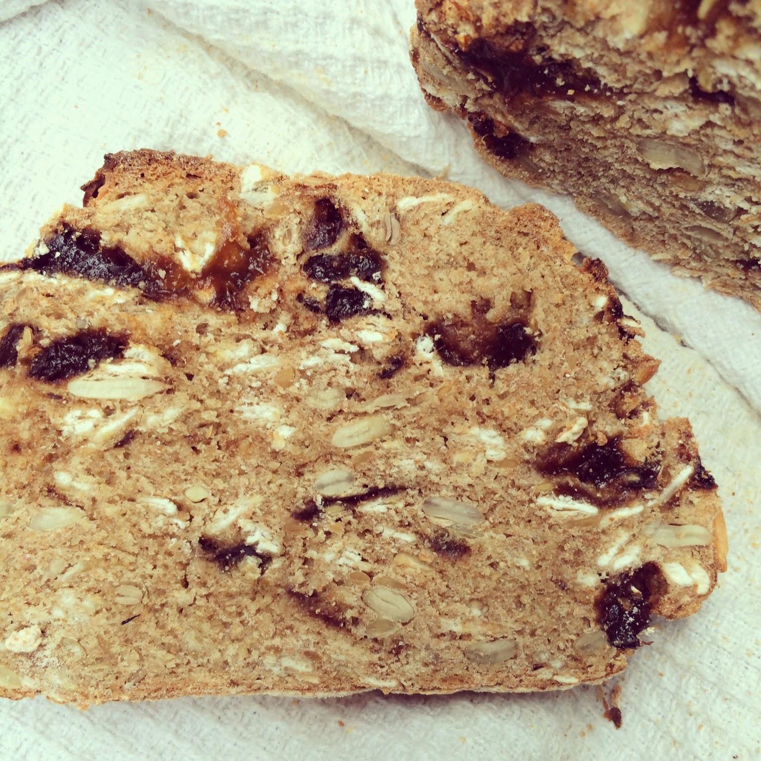 pain pruneaux avoine sans pétrissage