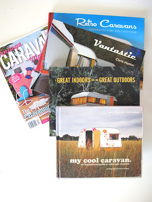 Selection of books (and a magazine) on caravans.
