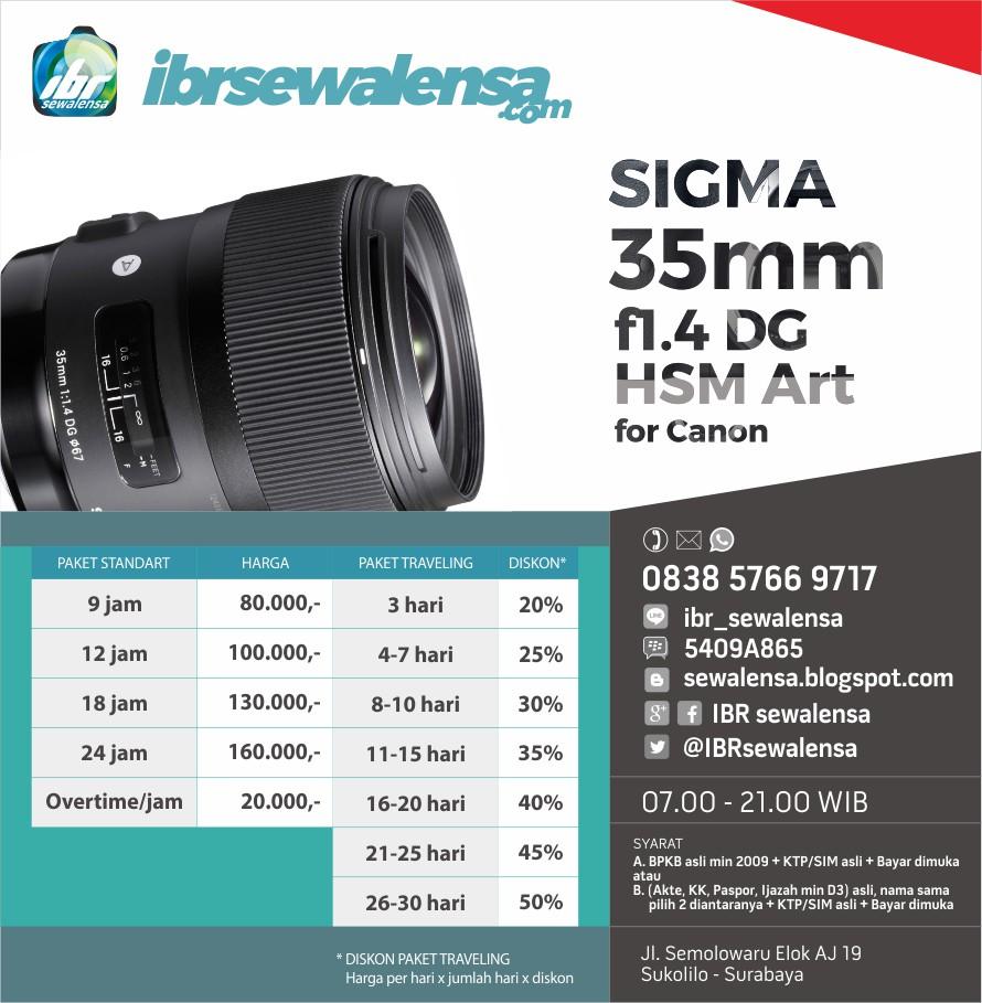 SIGMA 35mm f1.4 DG HSM Arrt for Canon SEWA RENTAL KAMERA LENSA
