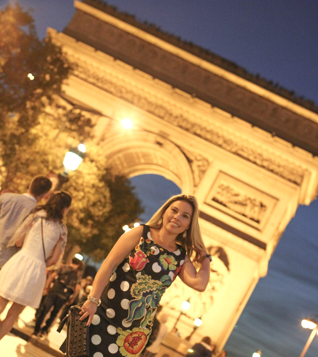 desigual polka dot and flower dress by the arc de triomphe paris