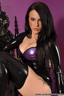 Sultry Brunette in Tight Shiny Latex Dress and Stockings