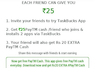 Taskbucks Refer and Earn Paytm Cash