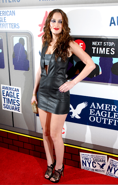 lovely ladies in leather leighton meester in a leather