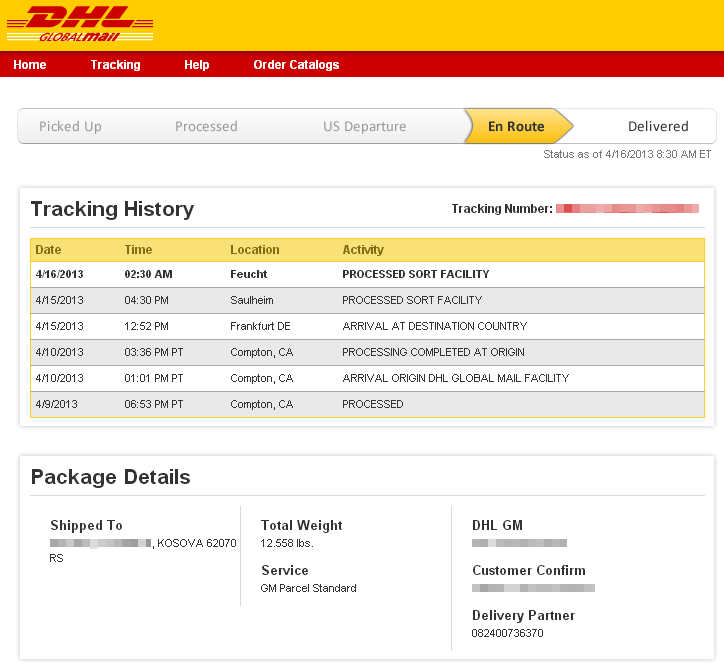 Tracking Dhl