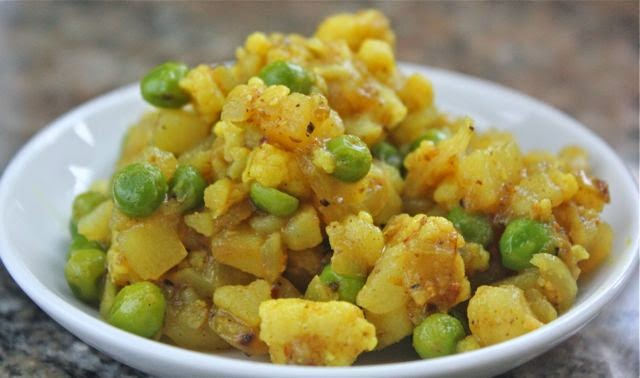 inside a samosa, peas, cauliflower and potato