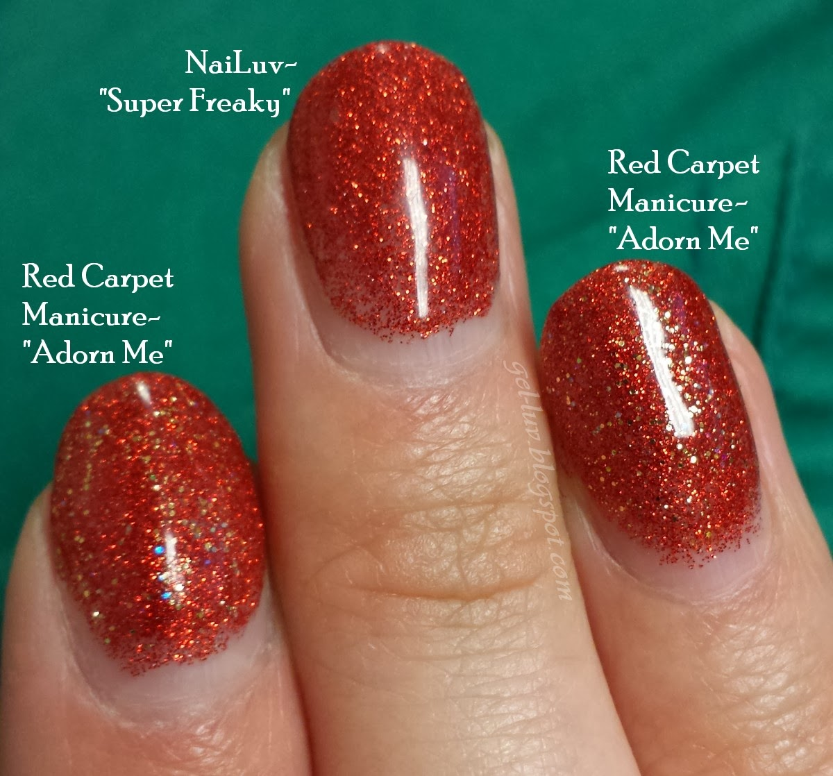 gel-luv: a gel polish blog!: glitter + glitter (or: nailuv + red