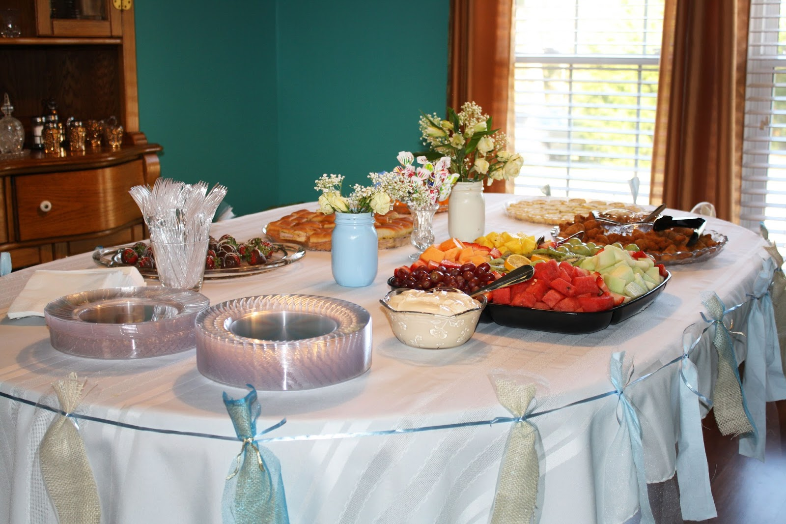 baby shower, baby boy, table set up, shower food