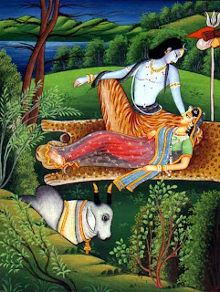 lying on a leopard skin with his beloved, Uma-Parvati; Pahari painting.