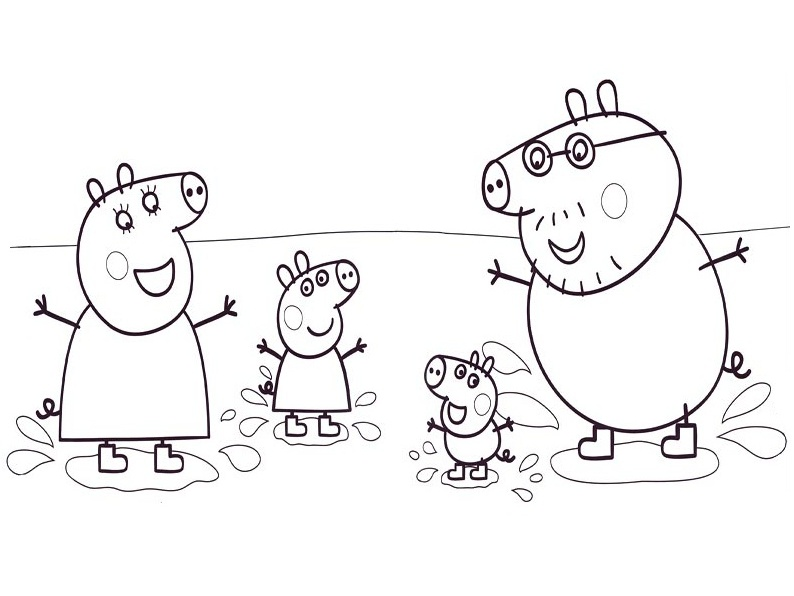 Pig Cartoon Coloring Pages For Kids