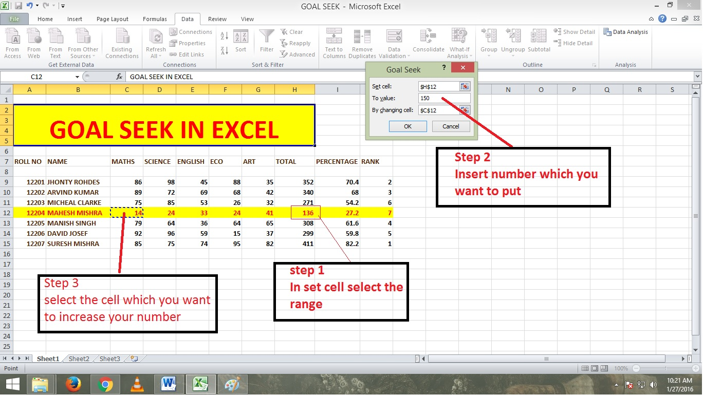 Data Analysis Scenario Manager In Excel Excel 2013 What