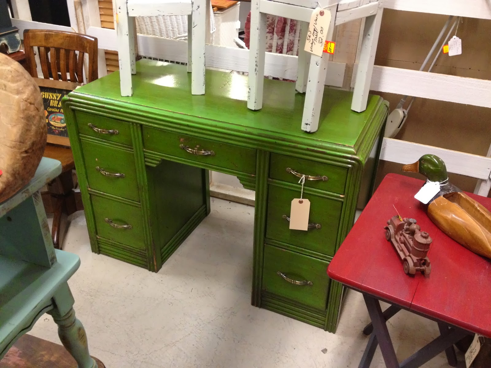 green antique desk