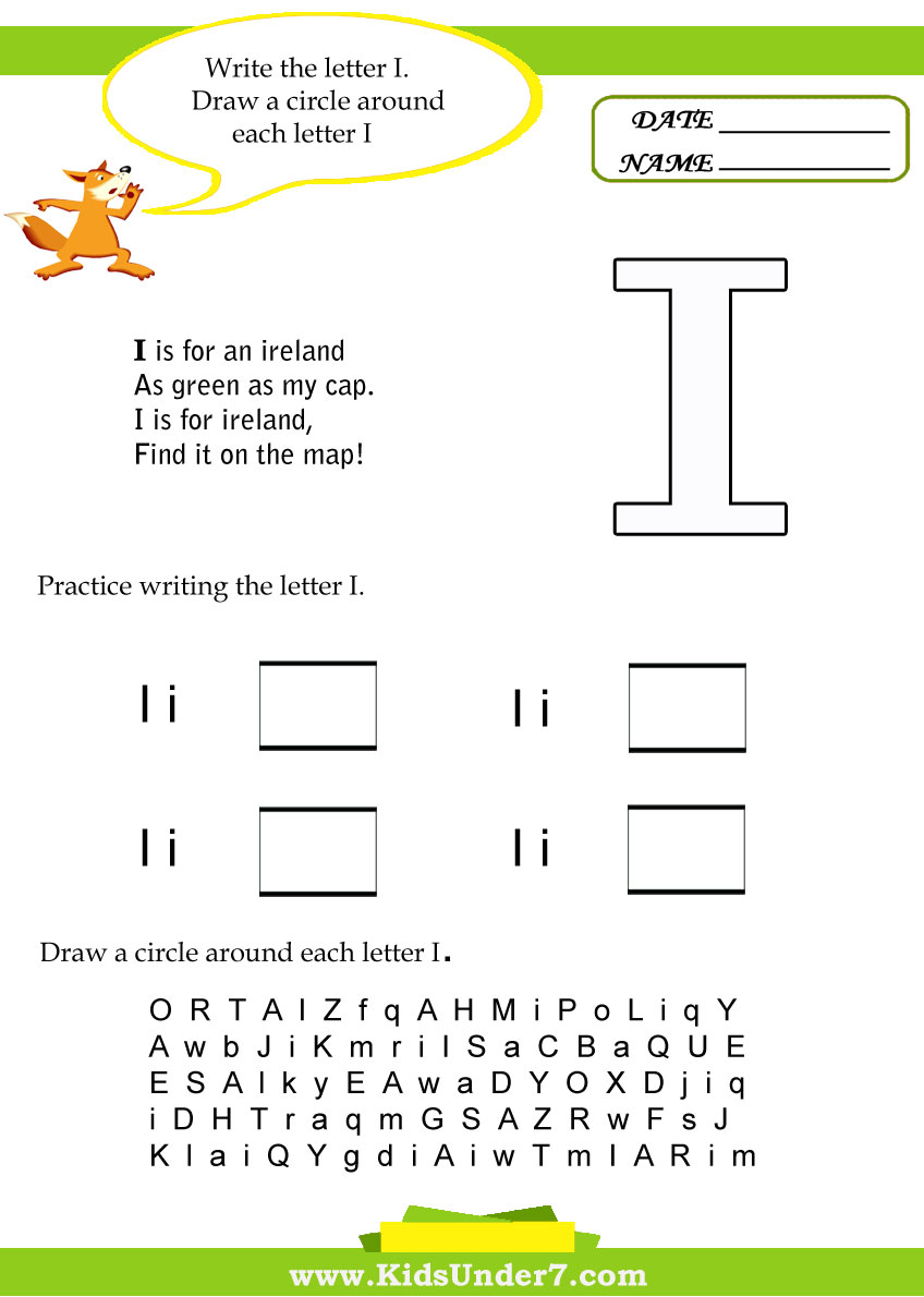 Kids Under 7: Letter I Worksheets