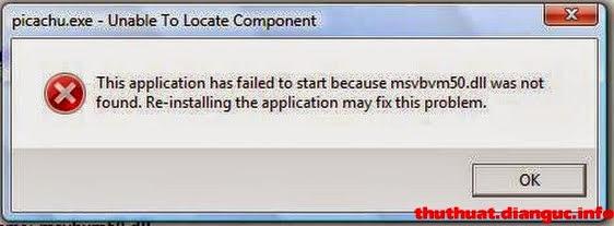 Sửa lỗi thiếu file msvbmv50.dll khi chơi Pikachu trên Win 7