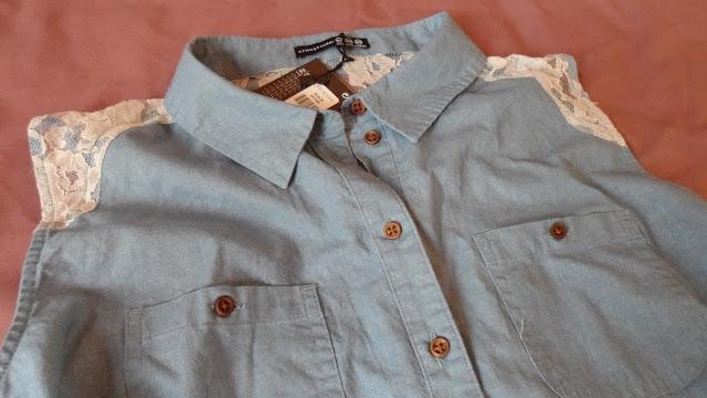Primark denim shirt dress with lace back
