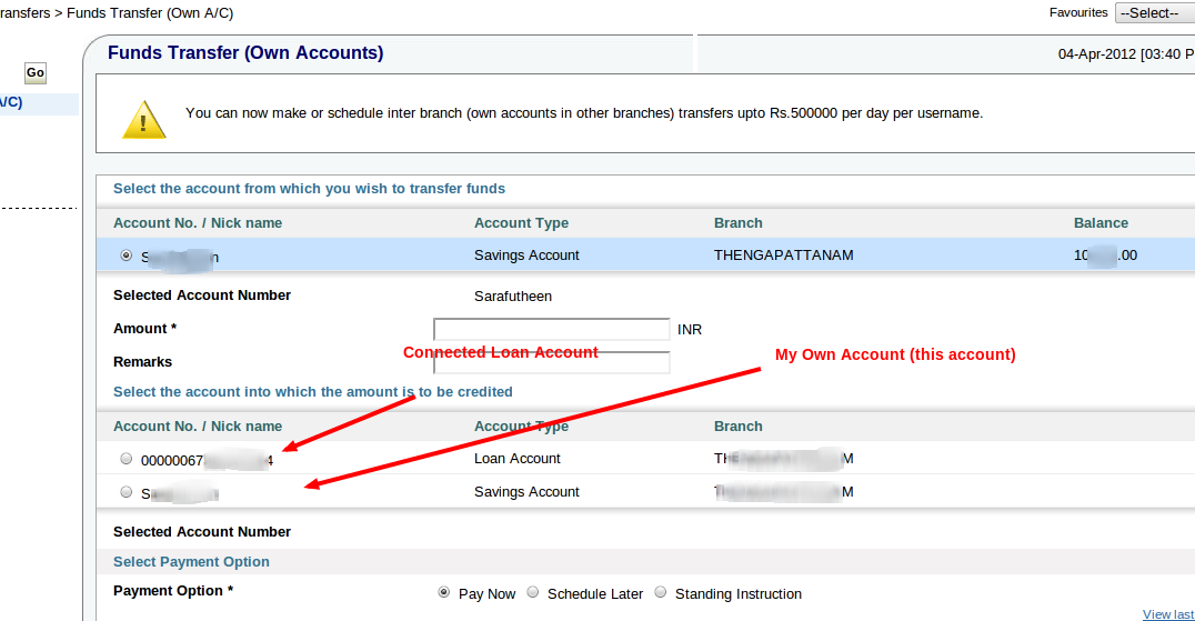 sbi third party transfer form download