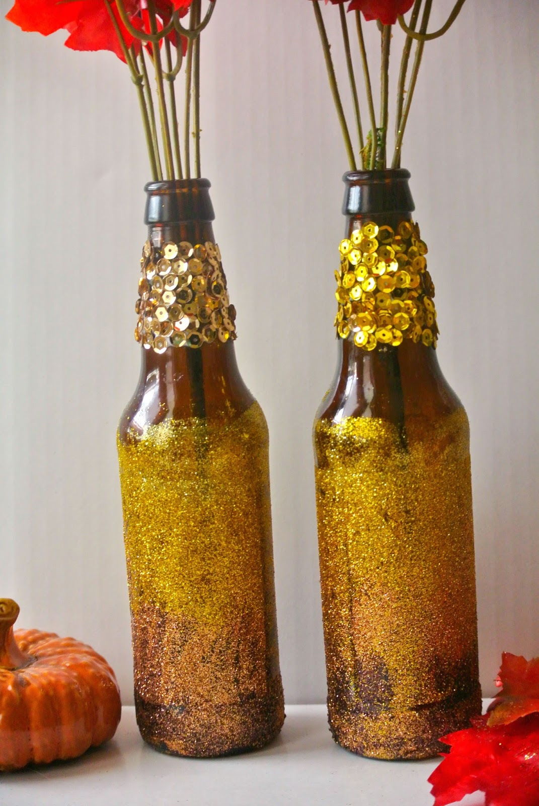 B is 4 diy fall recycled bottle decor tbc crafters for Decorative vials