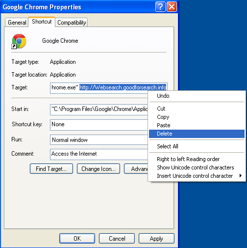 Malicious properties shortcut Websearch.goodforsearch.info