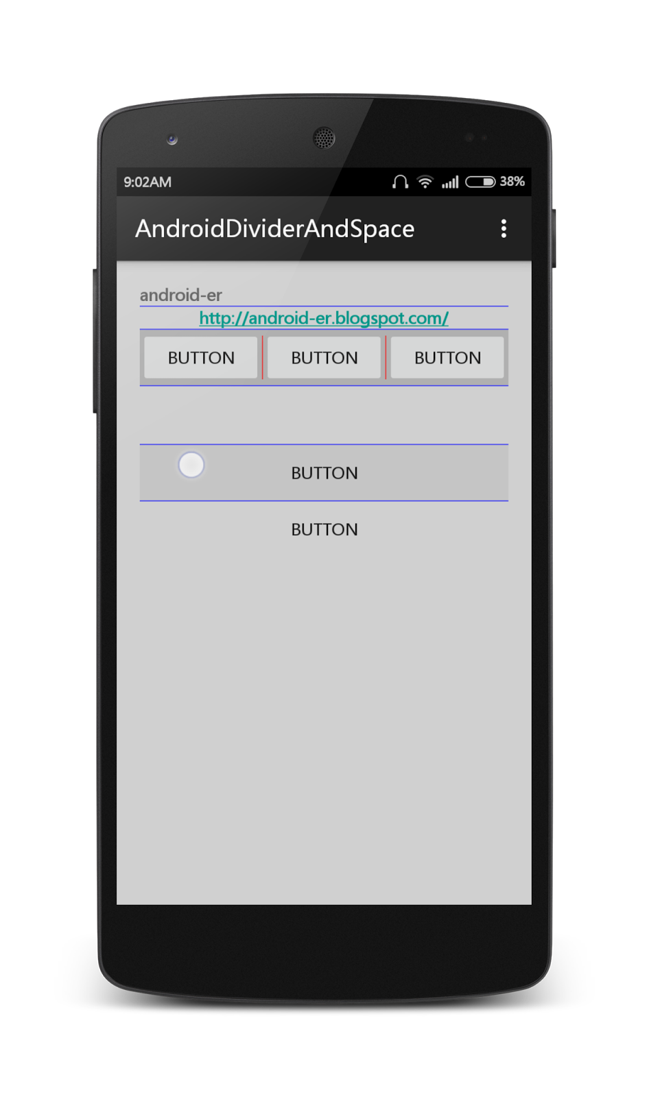 Android er divider and space - Er finestra android ...
