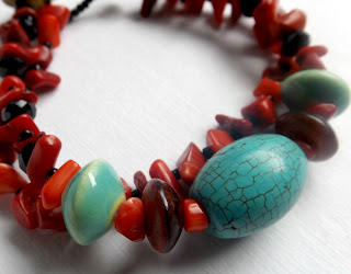 Coral and turquoise beaded bracelet