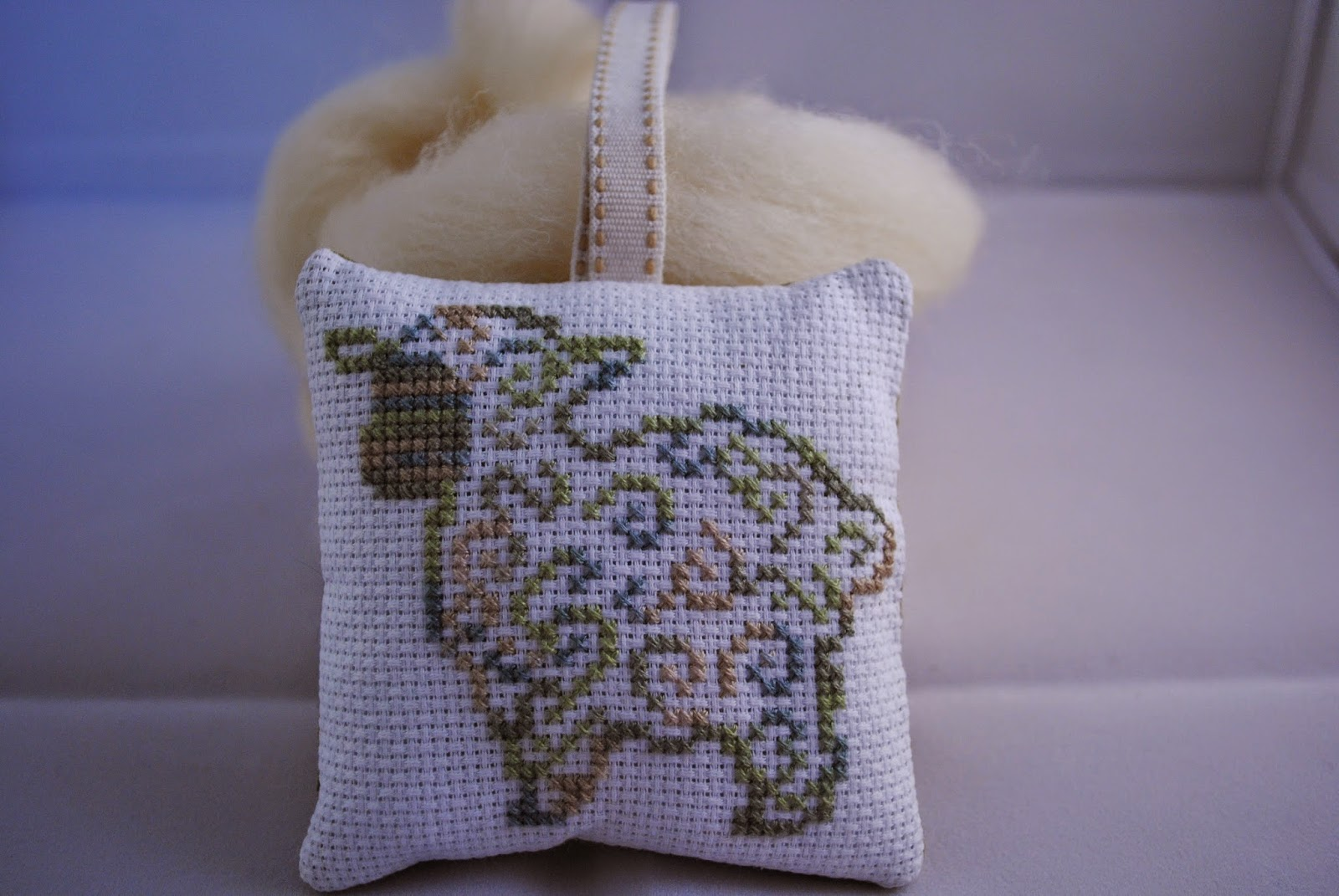Mini cross stitch pattern. Swirl Sheep Cross Stitch Ornament Finish