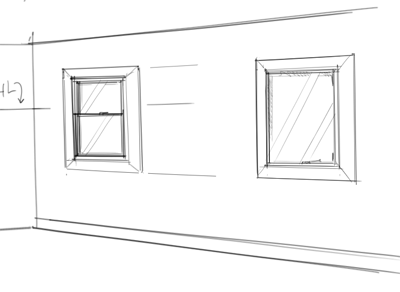 Interior design rendering how to draw windows for Window design sketch