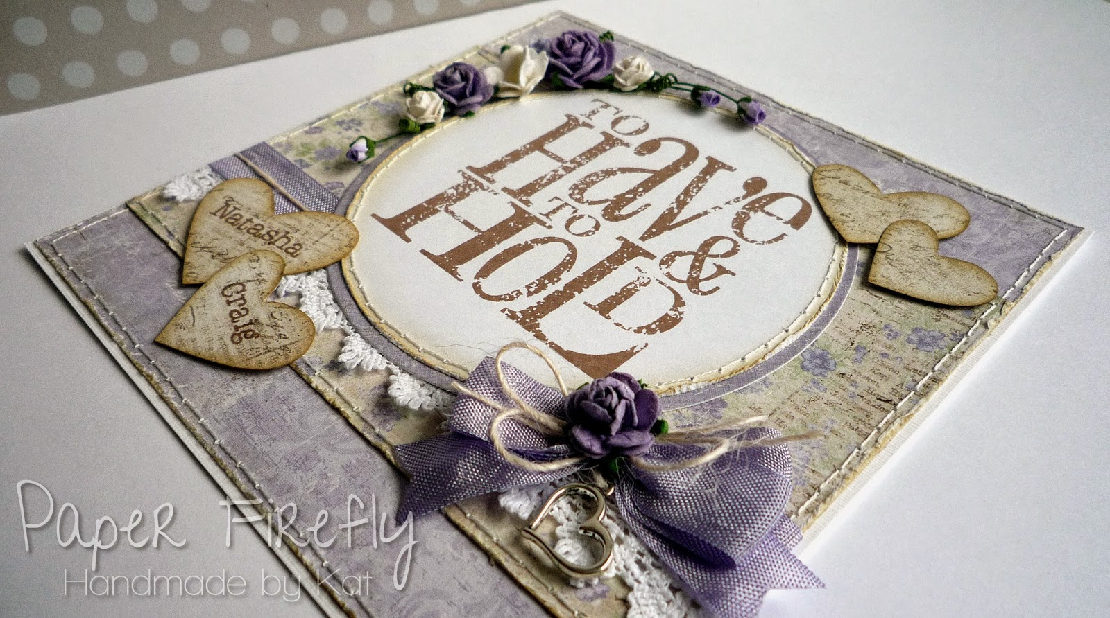 Shabby chic/vintage style wedding card in lilac