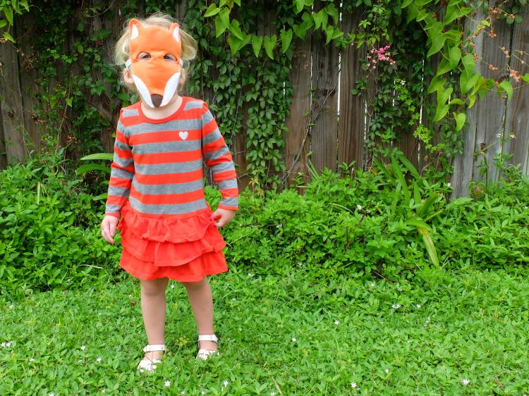 felt fox roll play mask for toddler