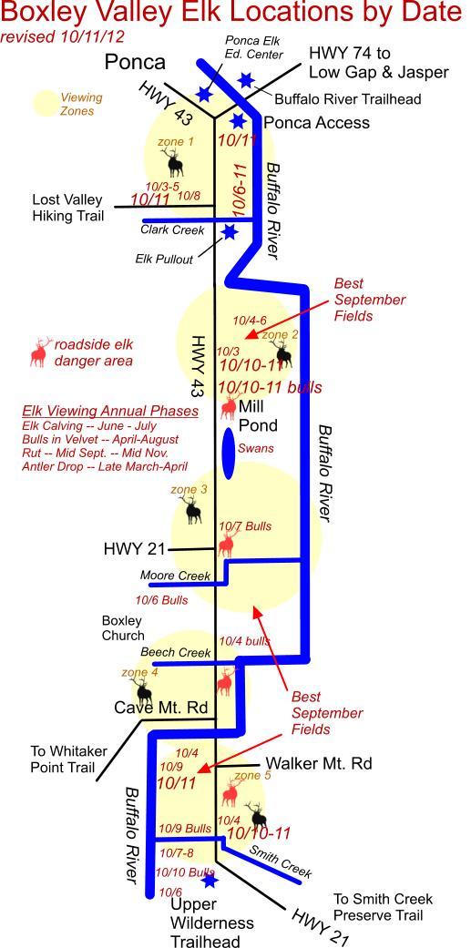 10/11/11 Elk Herd Locations in Boxley Valley, Ponca AR