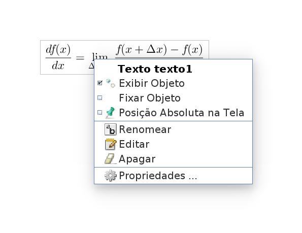 Clique com o botão direito do mouse sobre a equação. Clique na opção Propriedades.