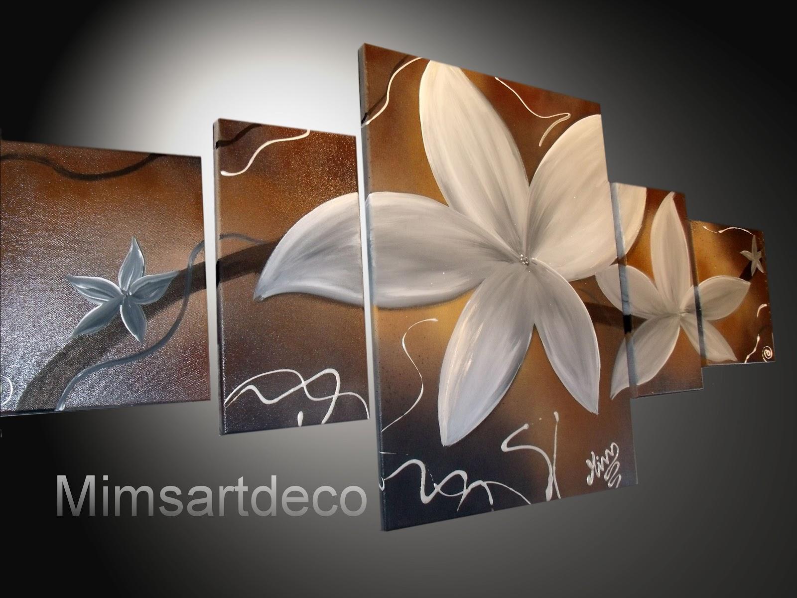 Tableaux abstrait tableaux abstrait moderne - Tableau triptyque fleurs blanches ...