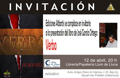 """invitación de la presentación de la novela """"Verba"""" en la Llibreria Llum de Lluna"""