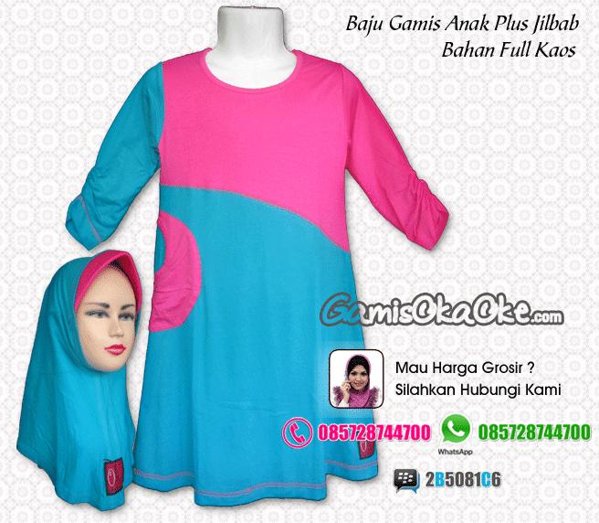 Grosir Baju Muslim Anak Perempuan Bahan Kaos Model Gamis