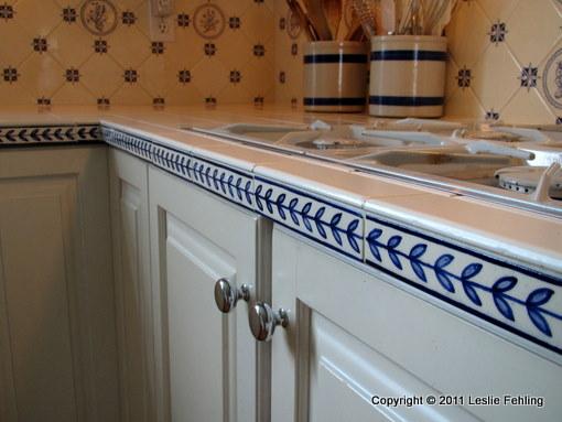 everyday artist hand painted blue white tile backsplash