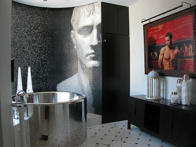 Photo of modern bathroom with huge black and white painting in the shower cabin