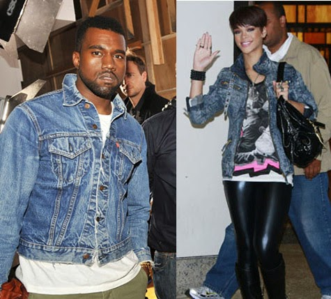Celebs In Denim  Kanye West In Vintage Levis Denim Jacket