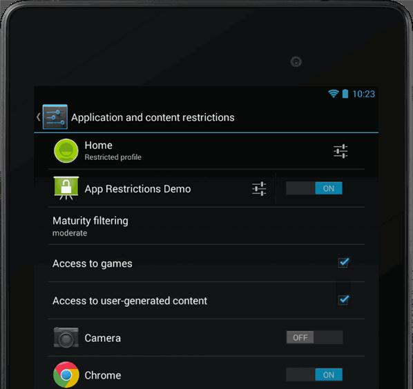 Multi-User Restricted Profiles Android Jelly Bean 4.3