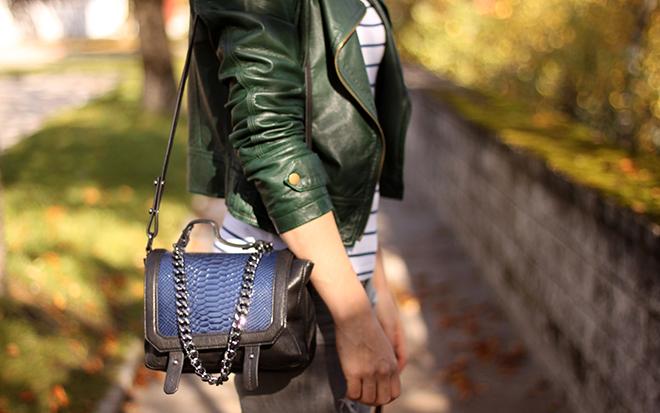 outfit-trend-fashionblogger-grey-jeans-skinny-shredded-lederjacke-sarenza-pumps-buffalo-hut-nieten-streifen-shirt