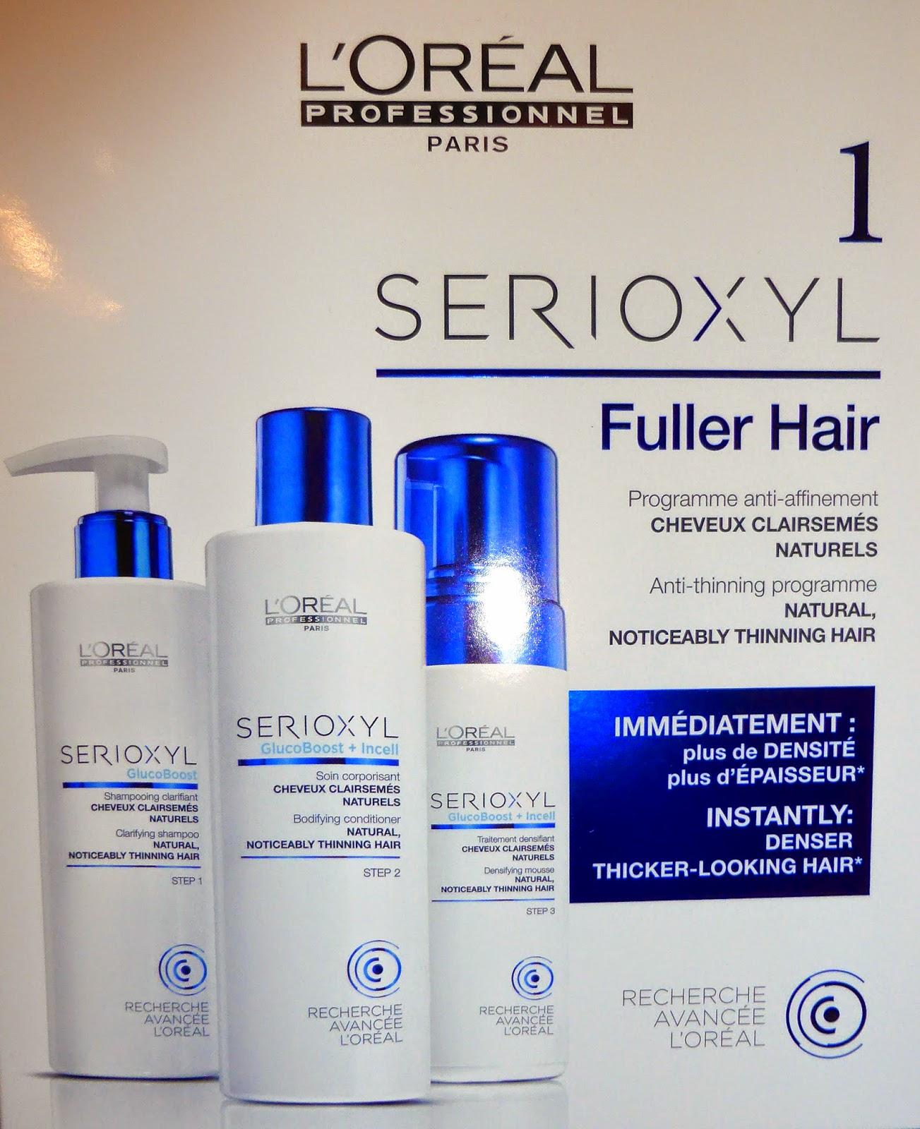 Serioxyl Fuller Hair, coffret pour cheveux affinés, naturels ou colorés, L'Oréal Recherche Avancée.