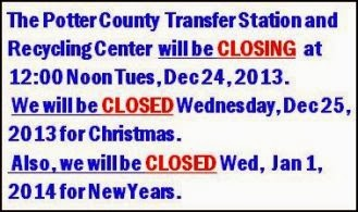 12-24/25/1-1 Holiday Hours