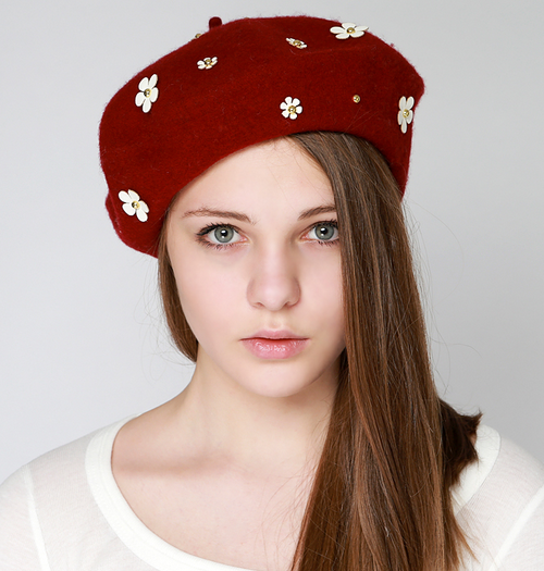 Petit Flower Wool Beret