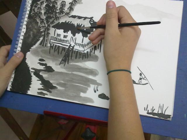 manejo aguadas tinta