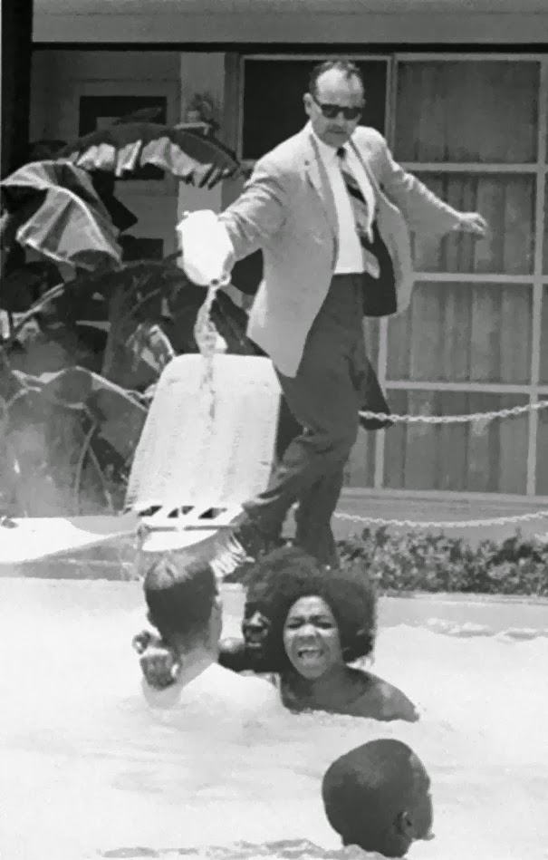 Hotel owner pouring acid in the pool