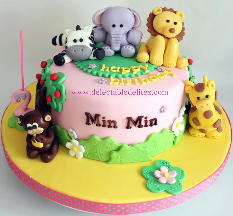 Delectable Delites Girly Animal Theme Cake For Min Mins 2nd Birthday