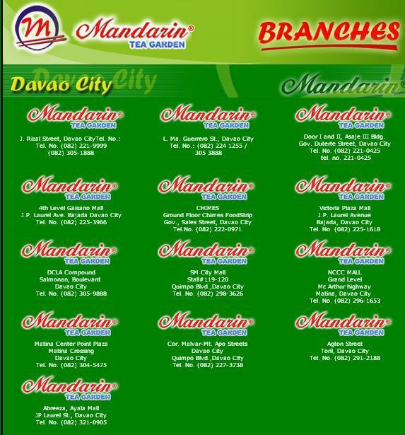 Mandarin Tea Garden Branches In Davao City Enter Davao