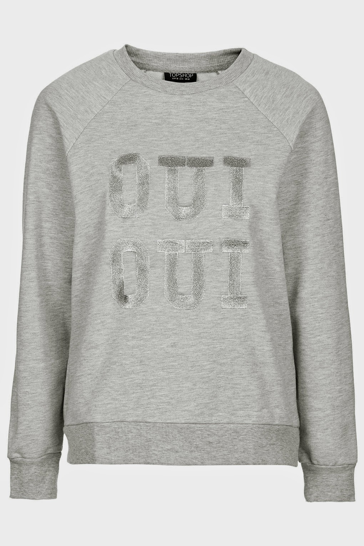 oui sweater, topshop grey jumper,